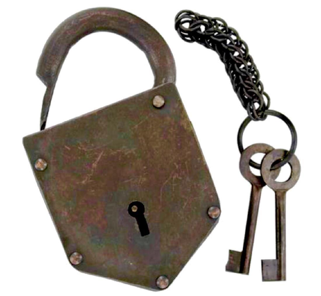 Old West Bank/Post Office Pad Lock w/ Skeleton Keys