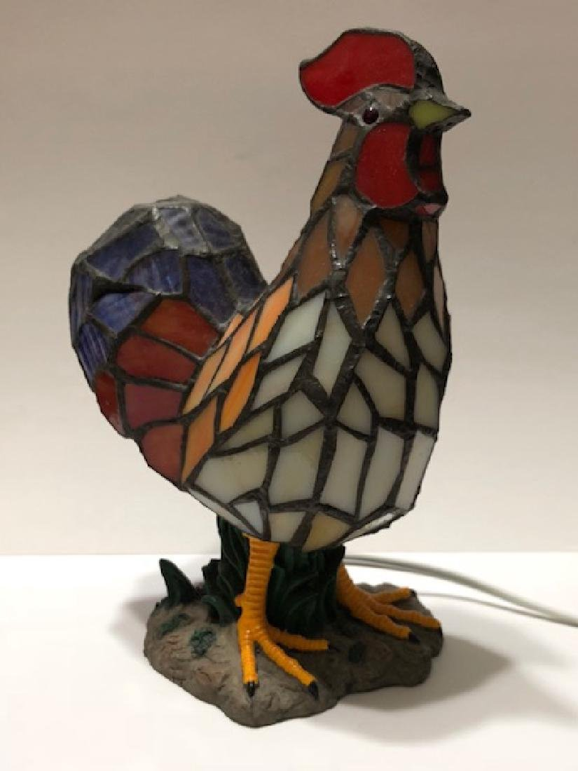 """Vintage TIFFANY style ROOSTER Table Lamp – 11"""" Tall"""