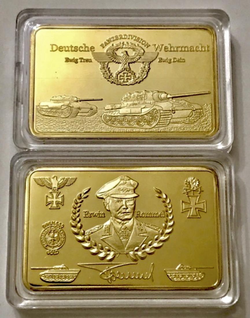 .999 Gold Clad WW2 German Panzer Division Bar - 2