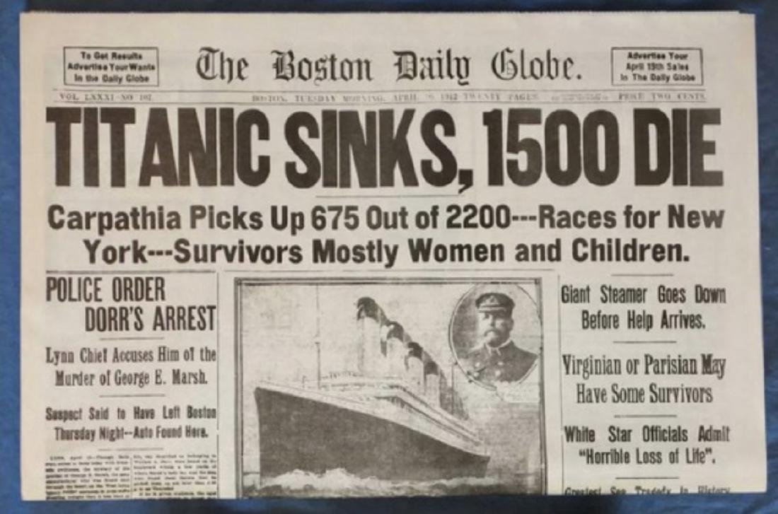 1912 Sinking of the TITANIC Boston Newspaper