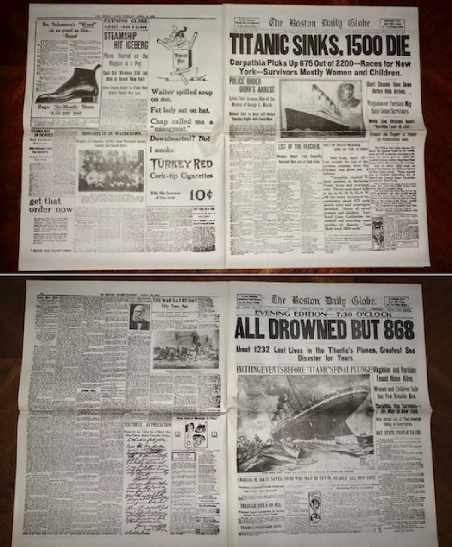 1912 Sinking of the TITANIC Boston Newspaper - 2