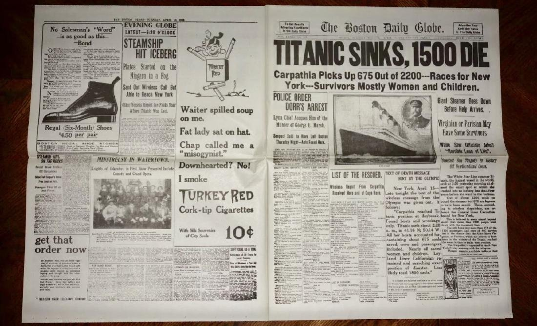 1912 Sinking of the TITANIC Boston Newspaper - 3