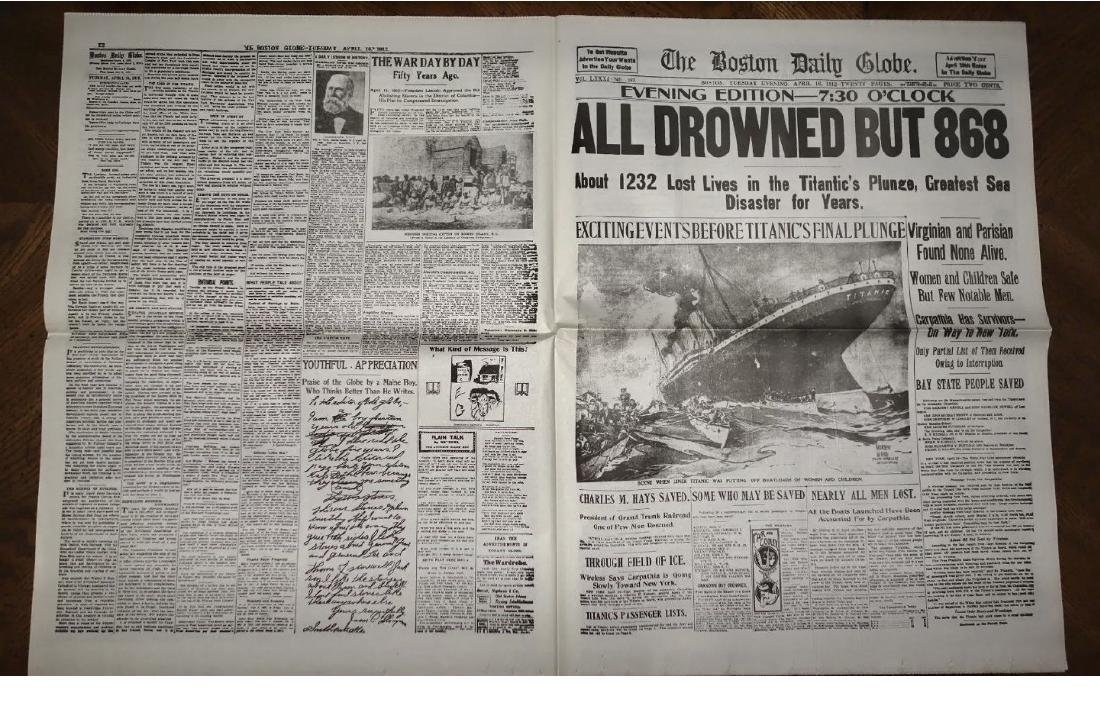 1912 Sinking of the TITANIC Boston Newspaper - 4