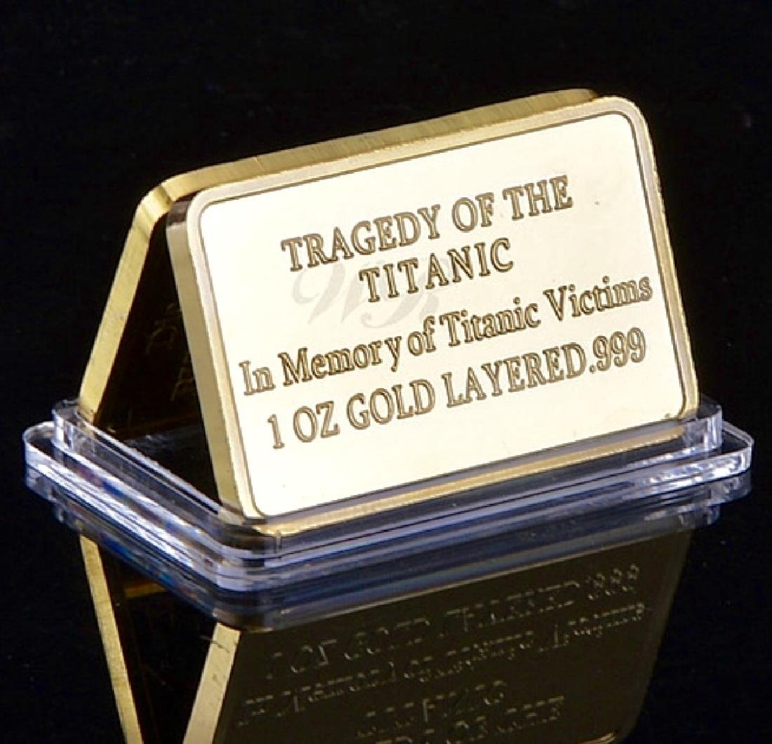 1oz .999 Layered Gold 1912 TITANIC Memoriam Bar - 2