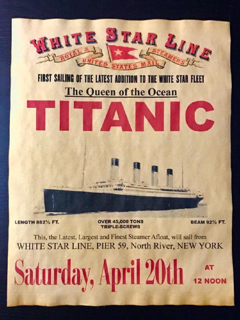April 1912 TITANIC Historic Voyage Notice Poster