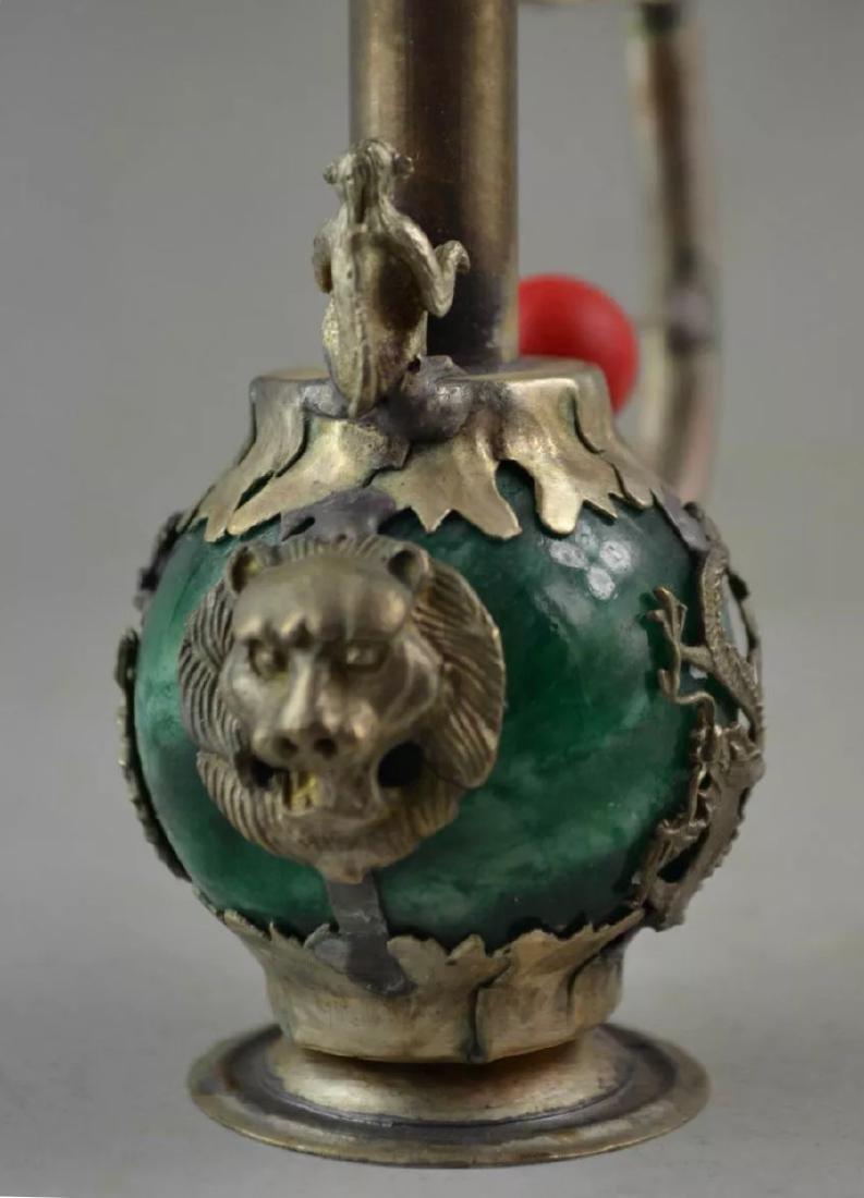 Chinese Folk Art Green Jade/Tibet Silver Opium Pipe - 2