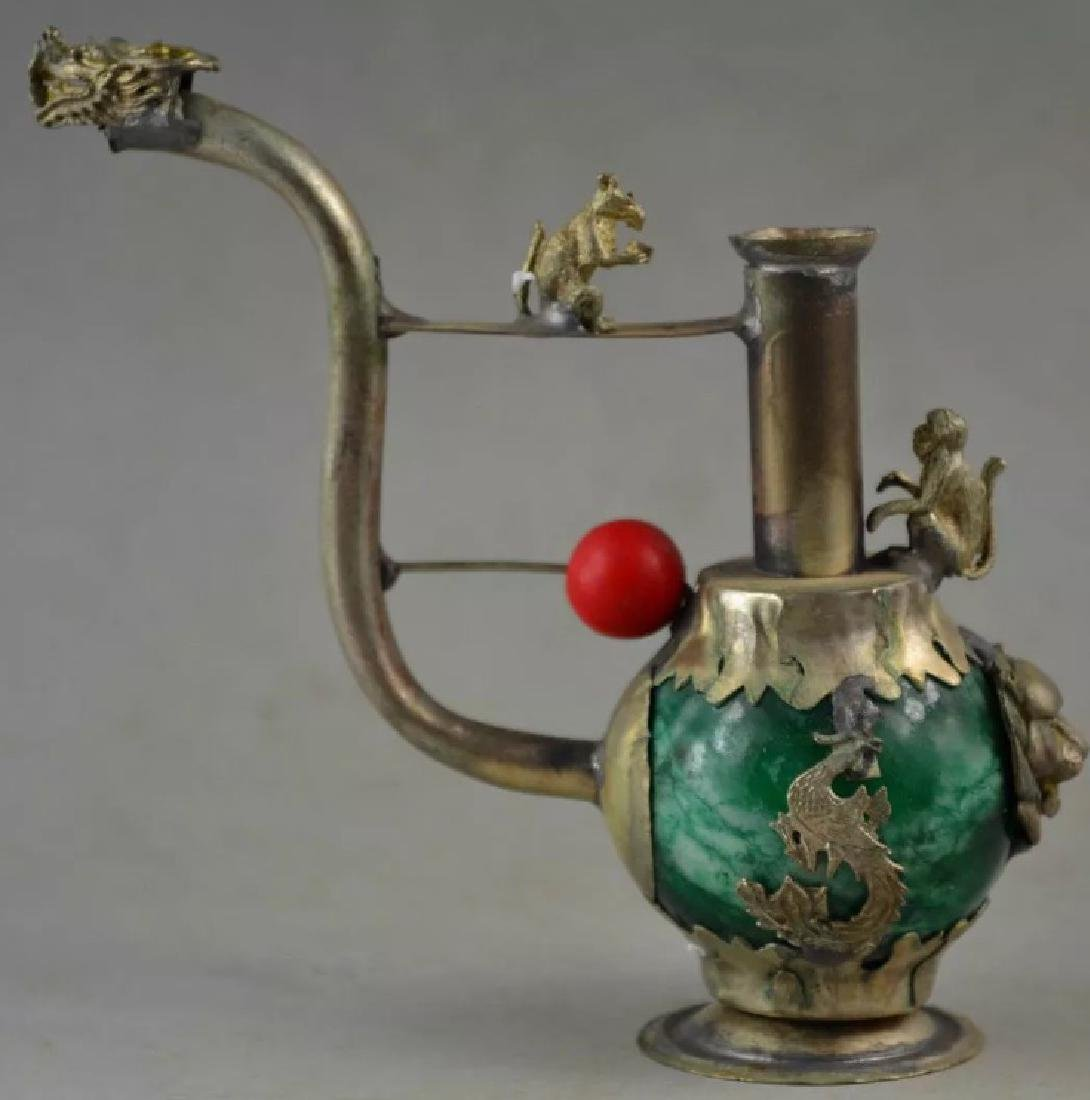 Chinese Folk Art Green Jade/Tibet Silver Opium Pipe - 4