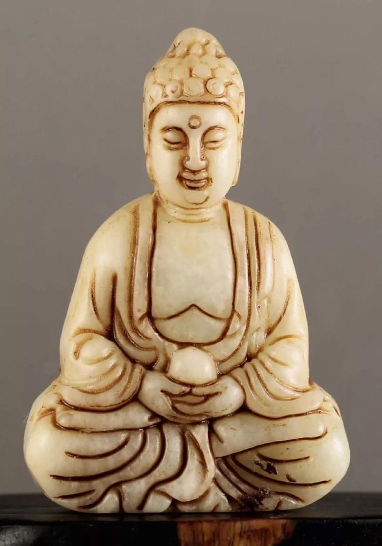Old Chinese Caramel JADE - KUAN-YIN Buddha - 2