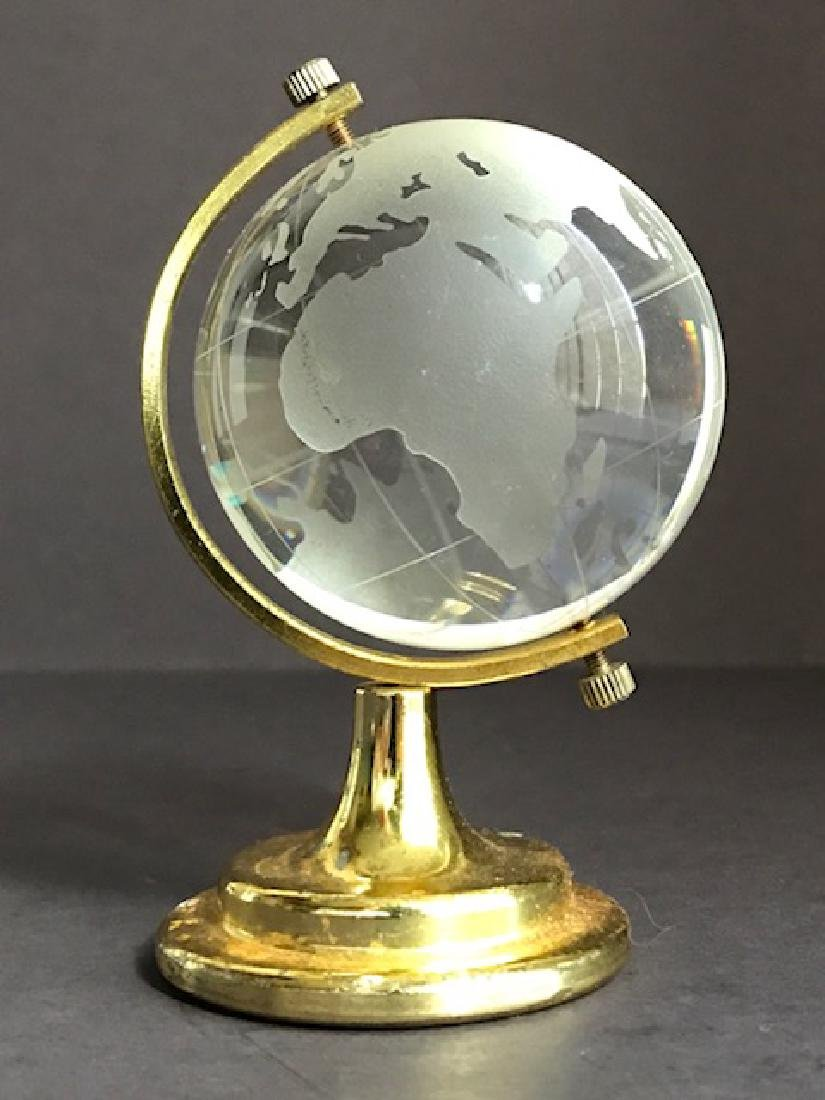 Vintage BADASH Rotating Crystal Globe/Gold Stand