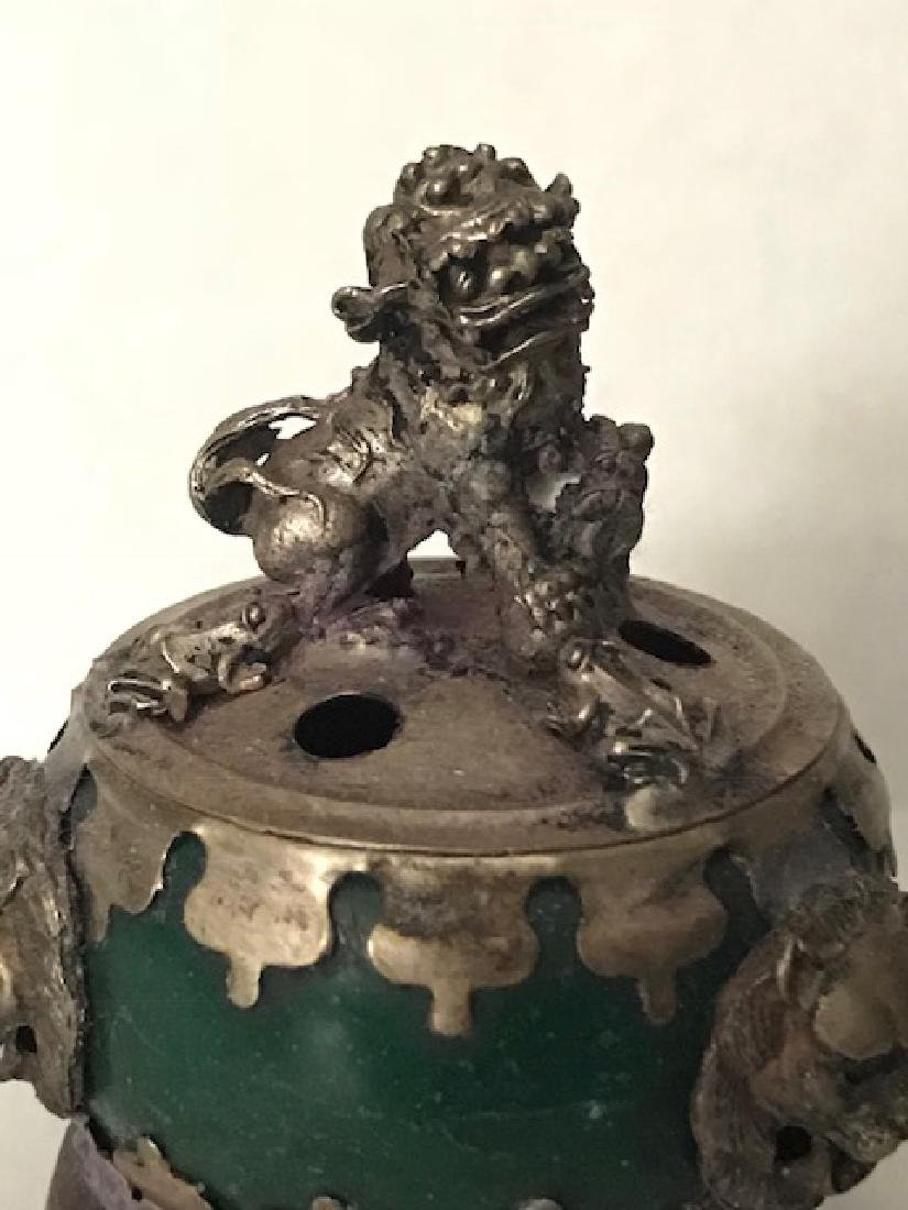 Early Chinese Hallmarked JADE Foo Dog Lidded Censor - 2