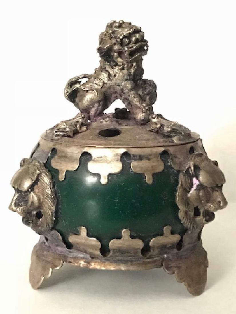 Early Chinese Hallmarked JADE Foo Dog Lidded Censor - 4