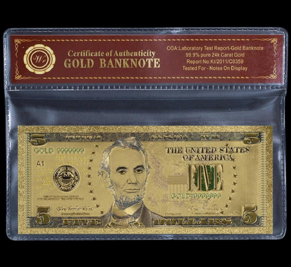 Lab Tested 24k Gold $5 Banknote Certificate