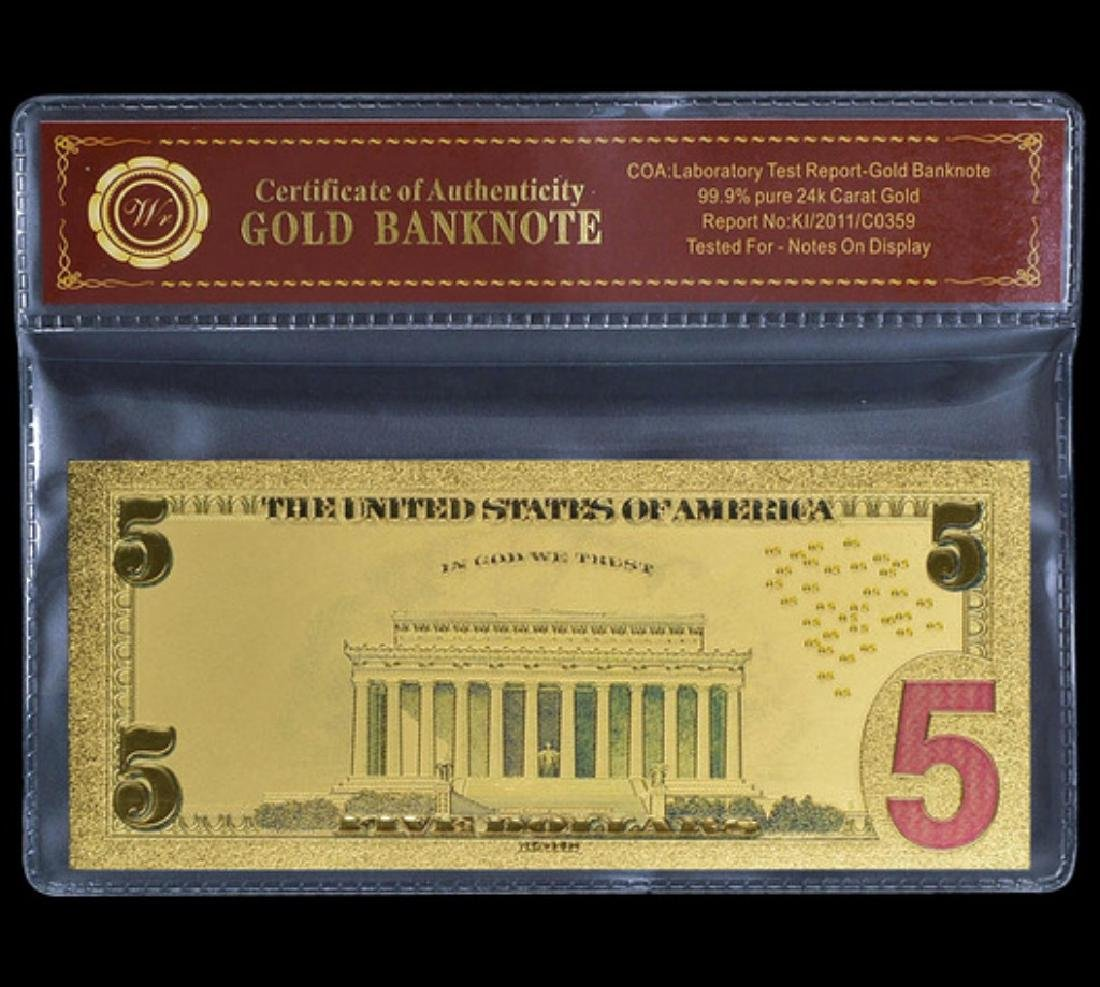 Lab Tested 24k Gold $5 Banknote Certificate - 2