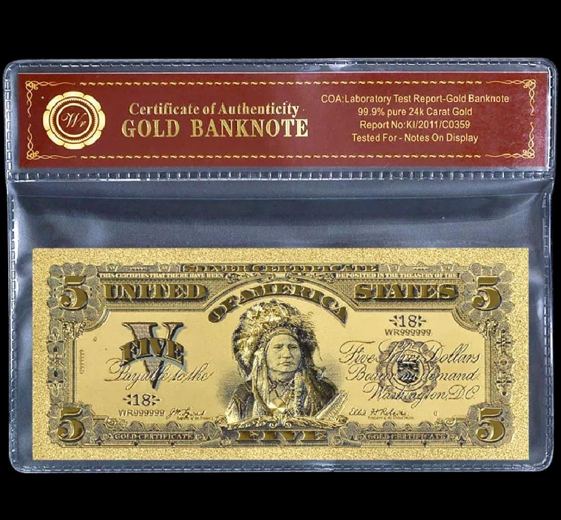 1899 Indian Chief 24k Gold $5 Banknote Certificate