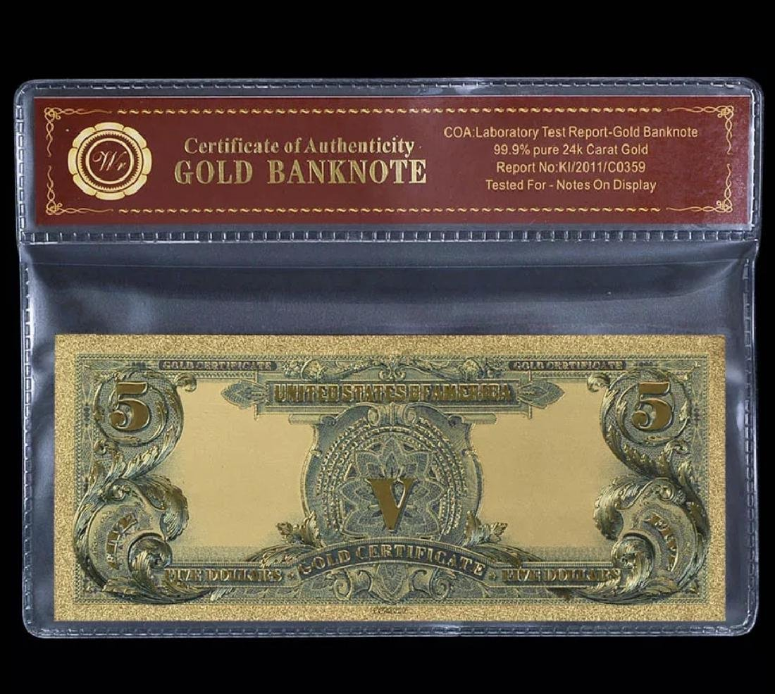 1899 Indian Chief 24k Gold $5 Banknote Certificate - 2