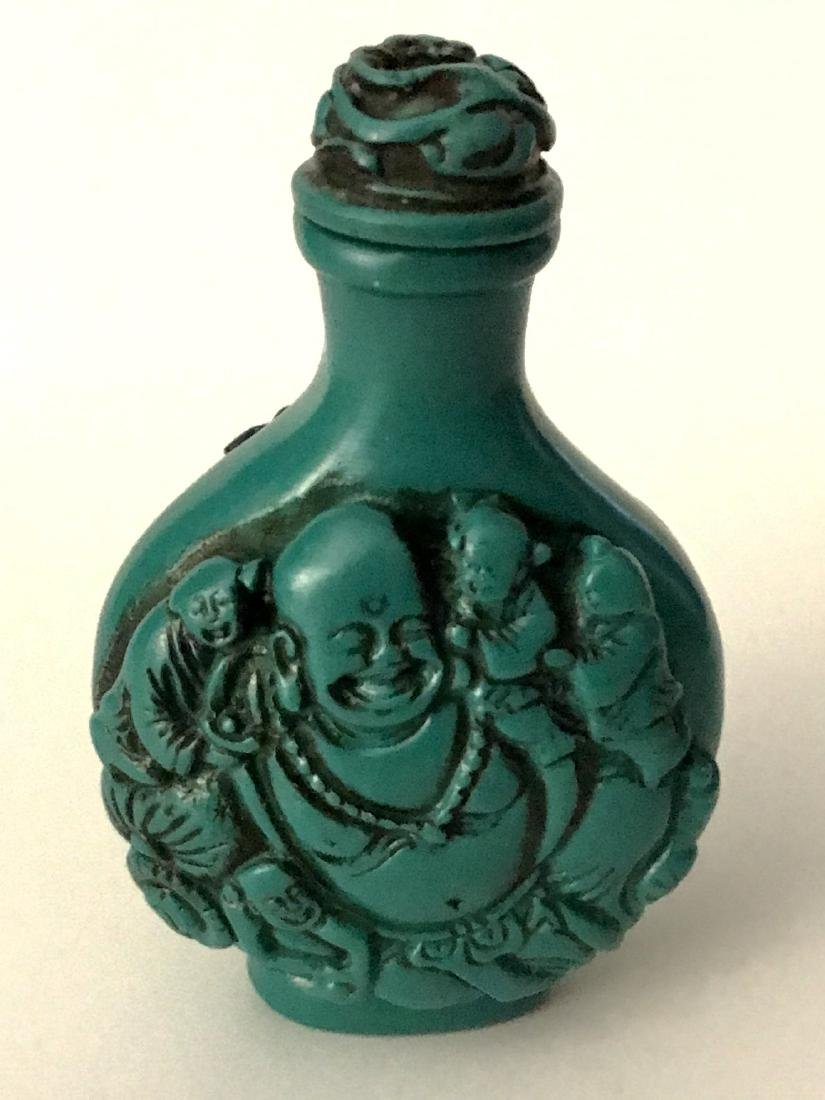 Ornate Carved Buddha Chinese Snuff Bottle