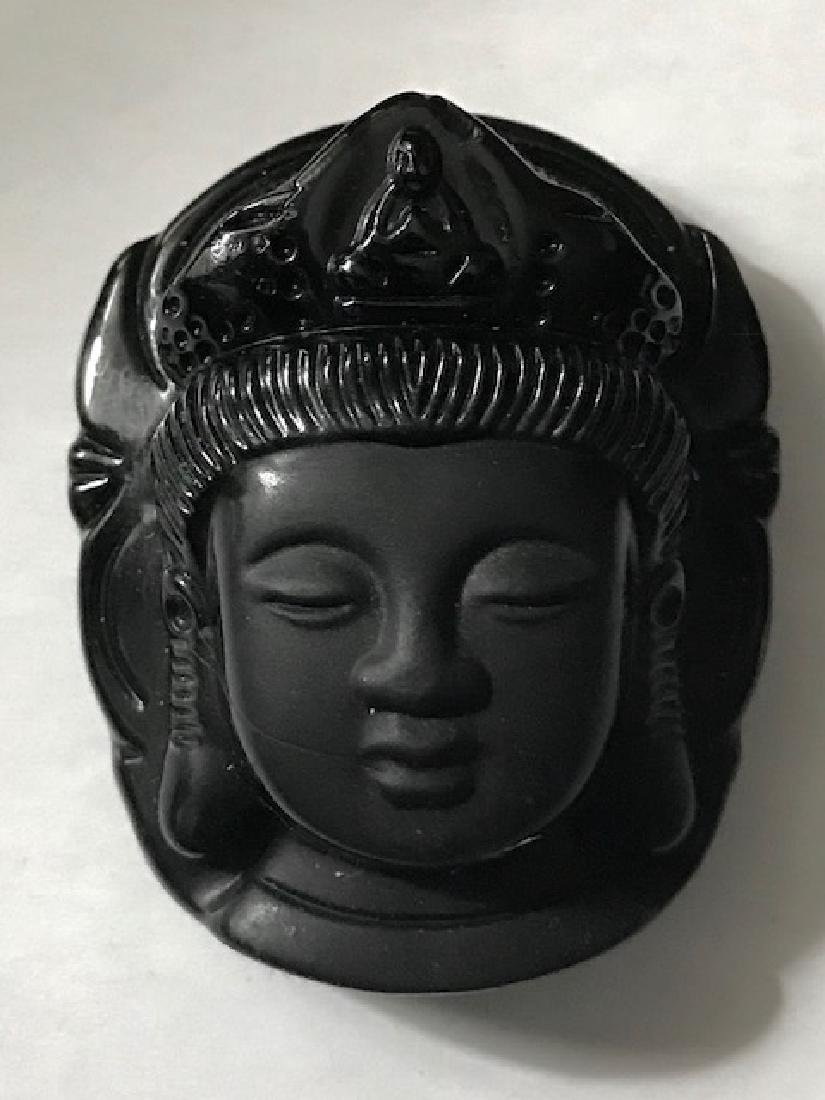 Ornate Carved Black Jade Chinese Buddha Amulet