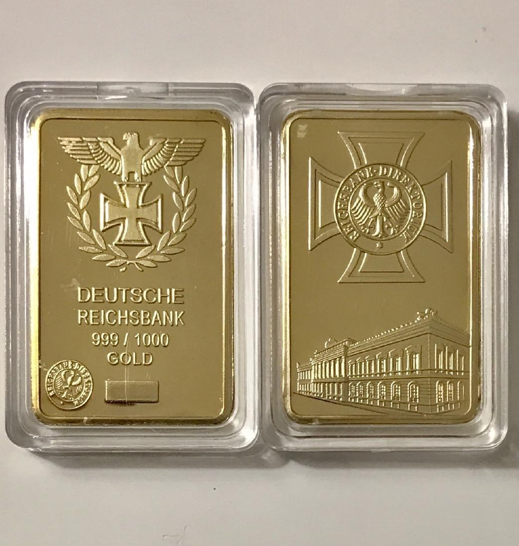 """1oz .999 Gold Clad German """"DEUTSCHE REICHSBANK"""" Bar"""