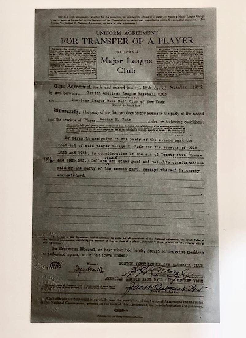 1919 BABE RUTH Player Transfer/Sale Contract - 2