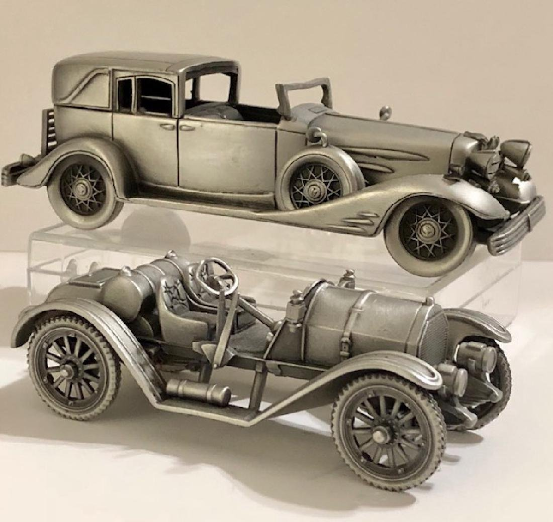 Lot of 2 Pewter Antique Cars Handmade in England/2