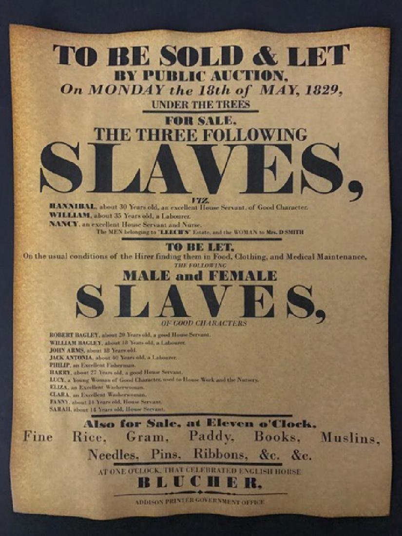 Black Americana Slave Auction Notice Poster