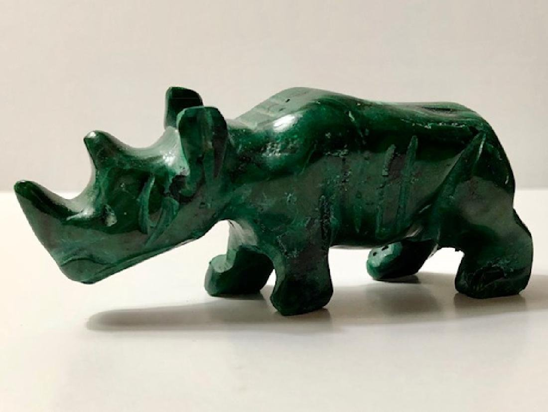Early Hand Carved Natural Malachite Rhinoceros