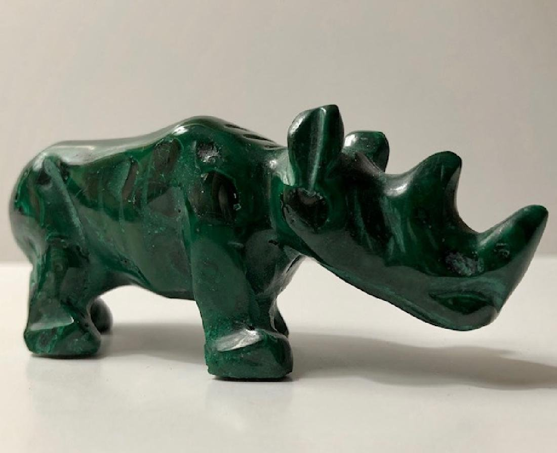 Early Hand Carved Natural Malachite Rhinoceros - 2