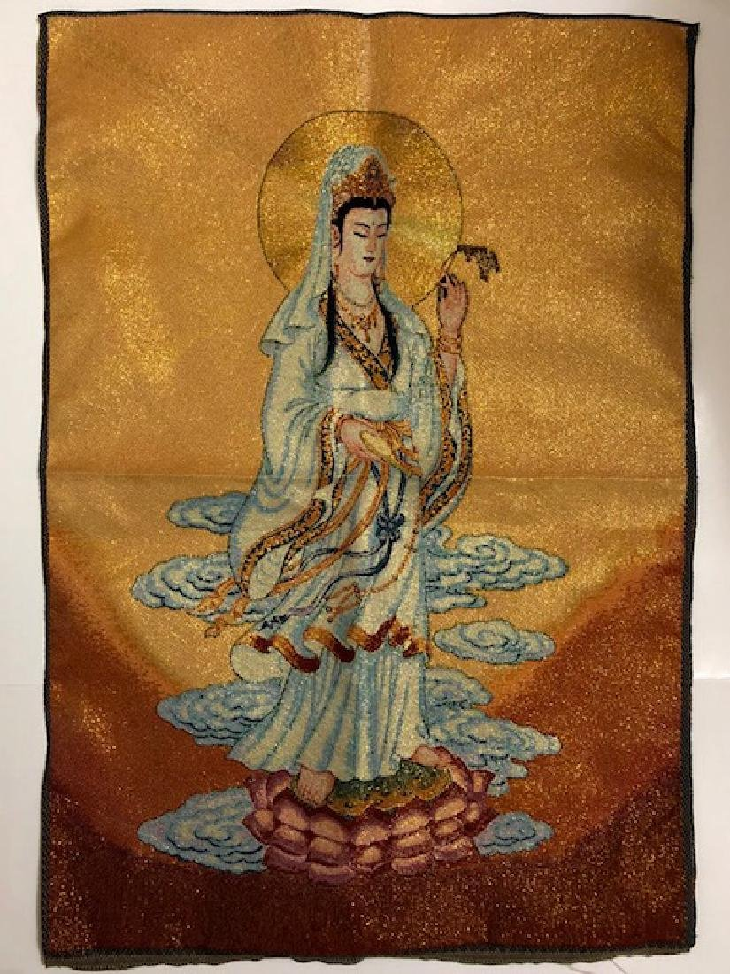 Beautiful Quan Yin Hand Embroidered Silk Tapestry