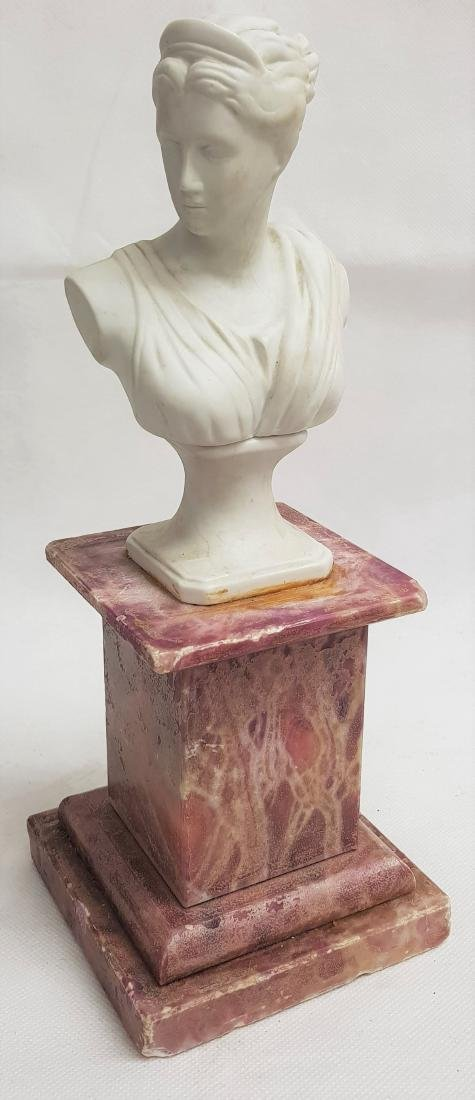ANTIQUE CERAMIC BUST ON MARBLE BASE
