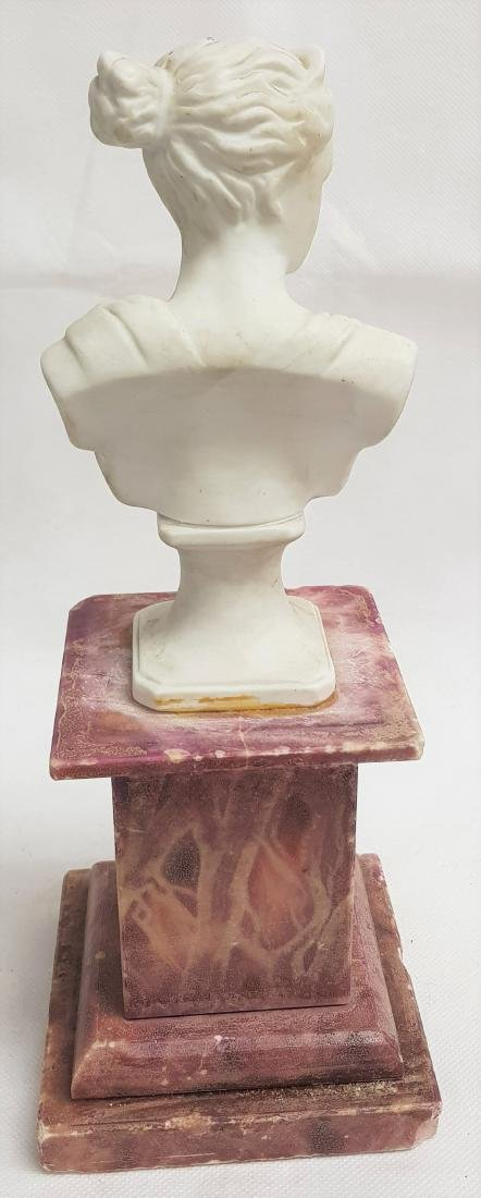 ANTIQUE CERAMIC BUST ON MARBLE BASE - 2