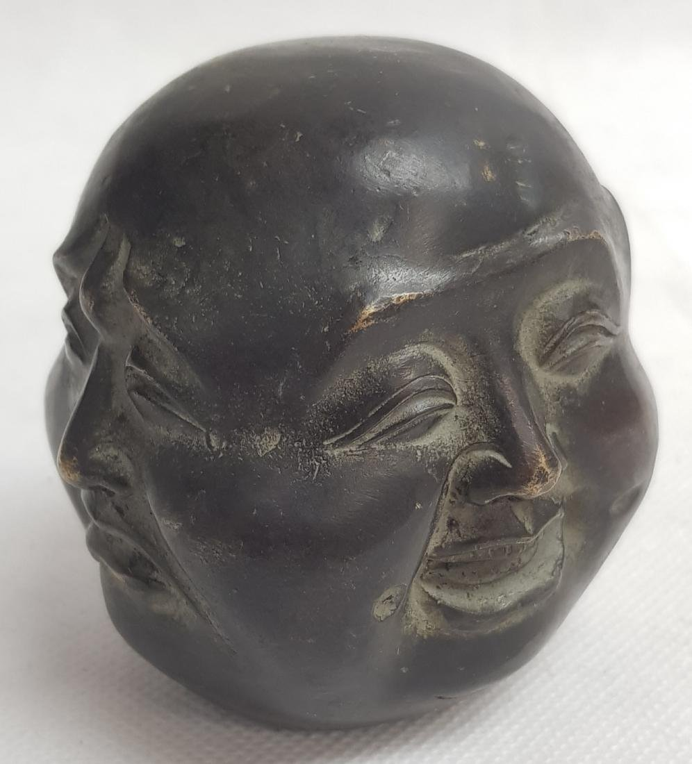 ANTIQUE CHINESE SIGNED BRONZE FACE FIGURE