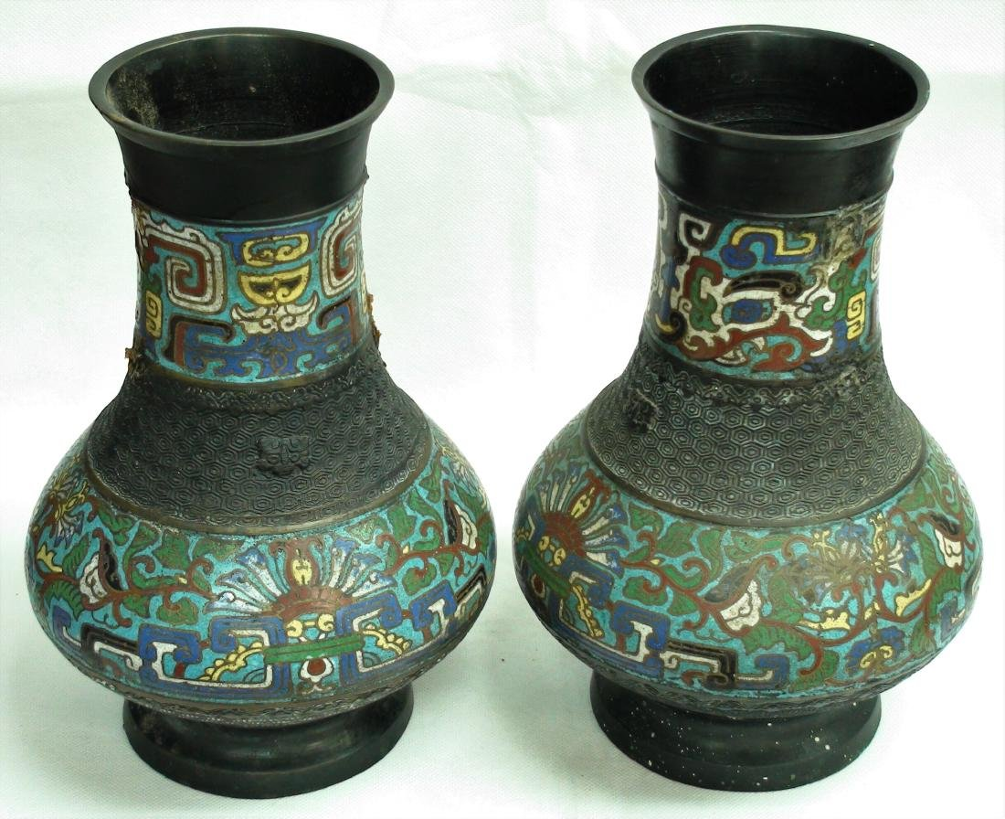 ANTIQUE MADE IN JAPAN ENAMEL BRONZE VASES - 2