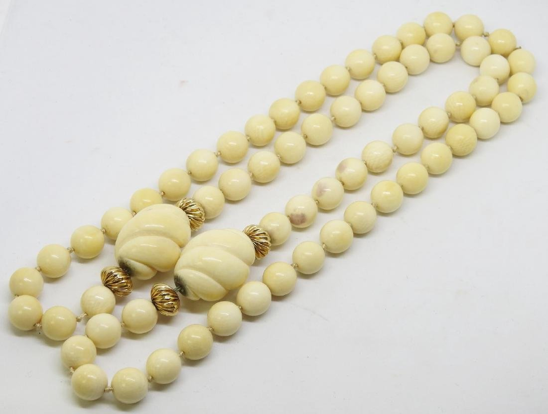 ANTIQUE IVORY BEAD NECKLACE - 2
