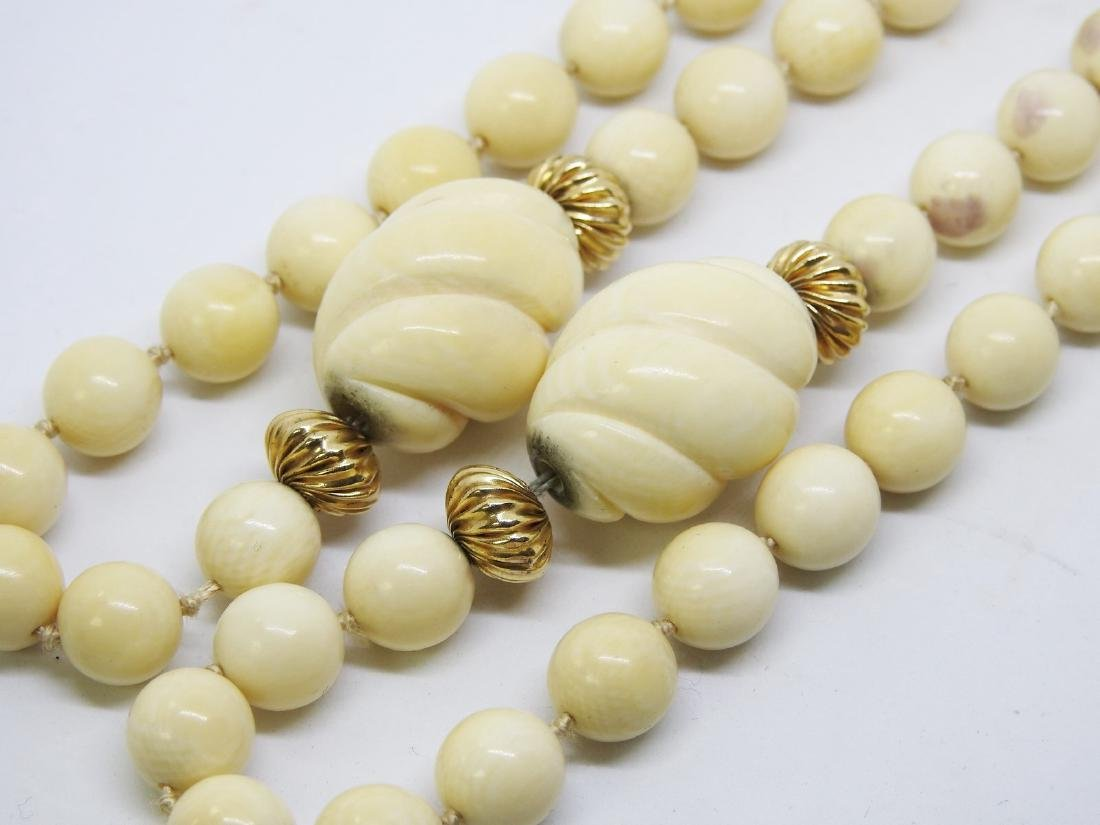 ANTIQUE IVORY BEAD NECKLACE - 3