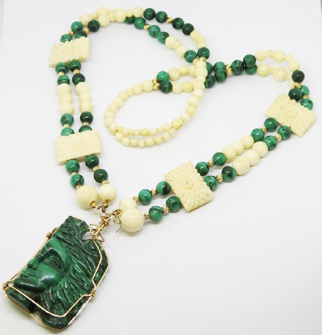 MALACHITE AND IVORY ANTIQUE NECKLACE