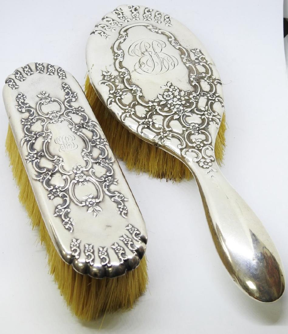 ANTIQUE STERLING SILVER BRUSH SET