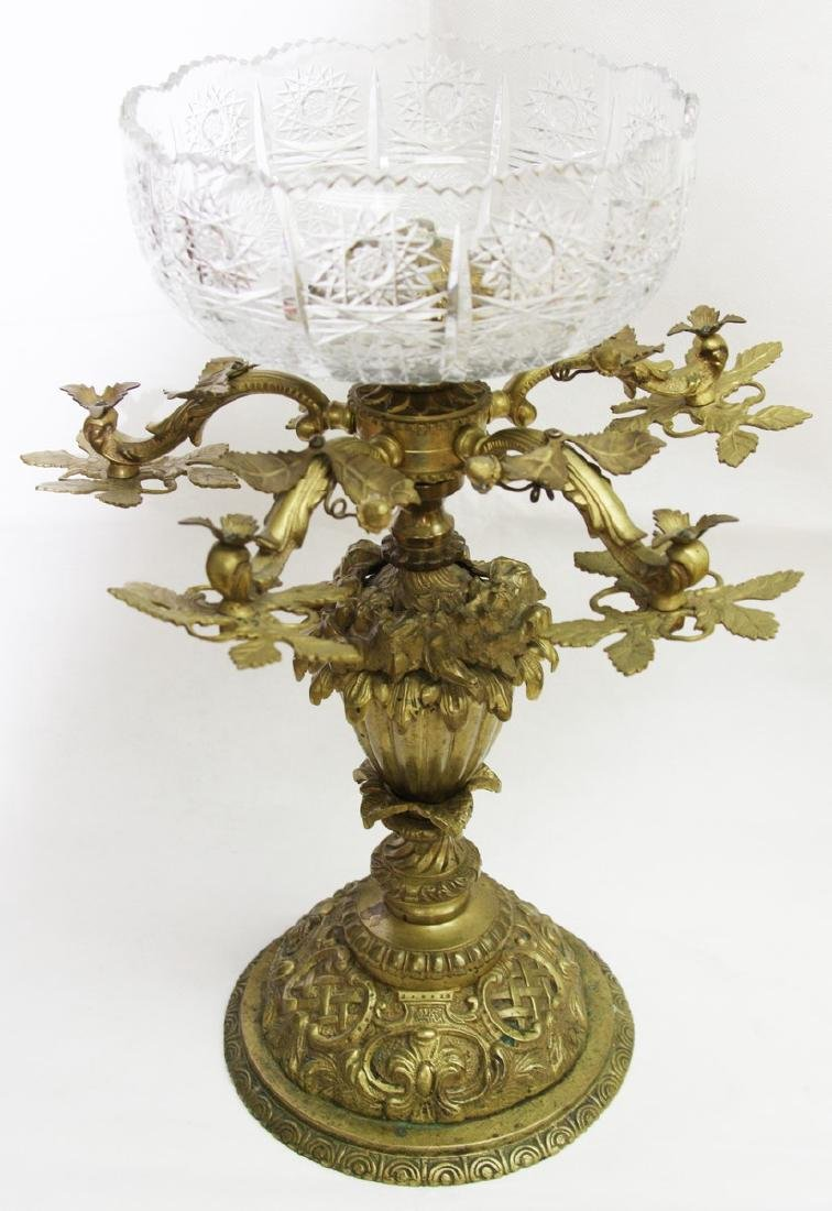 ANTIQUE BRONZE & GLASS CENTER PIECE - 3