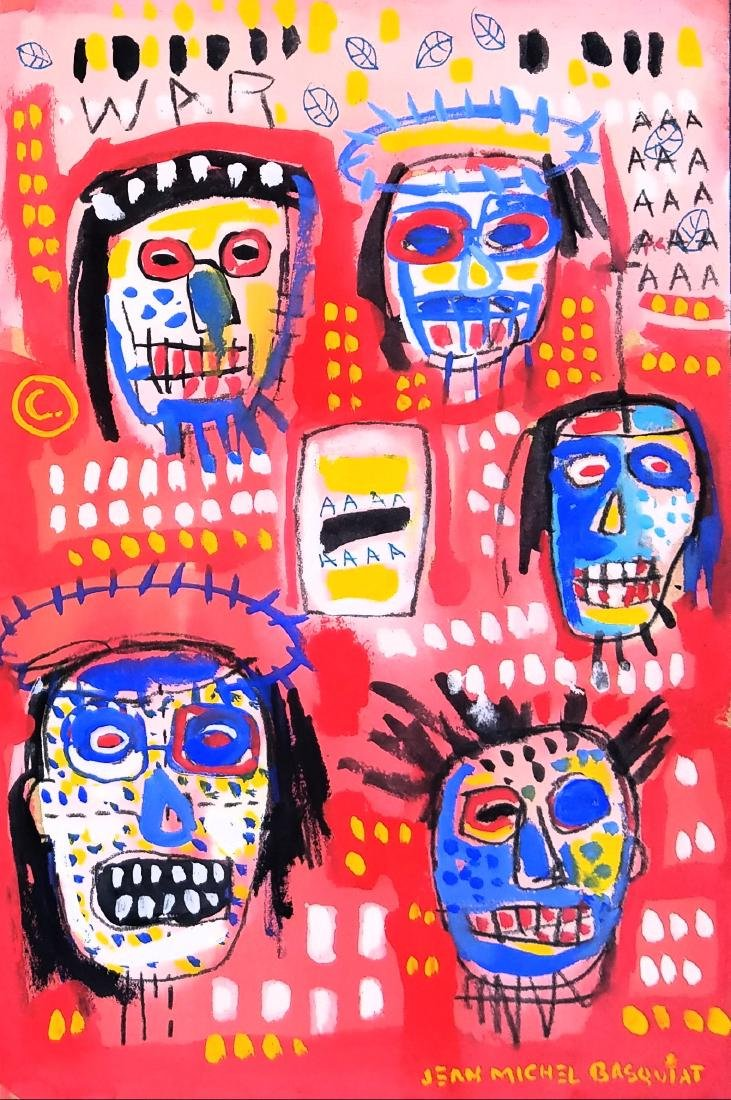 signed Jean Michel Basquiat mixed media on paper