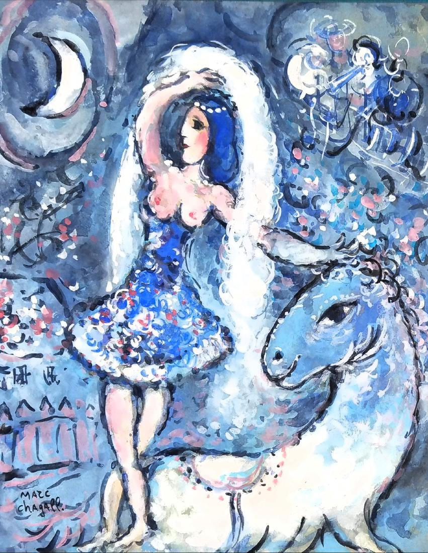 signed Marc Chagall gouache on paper