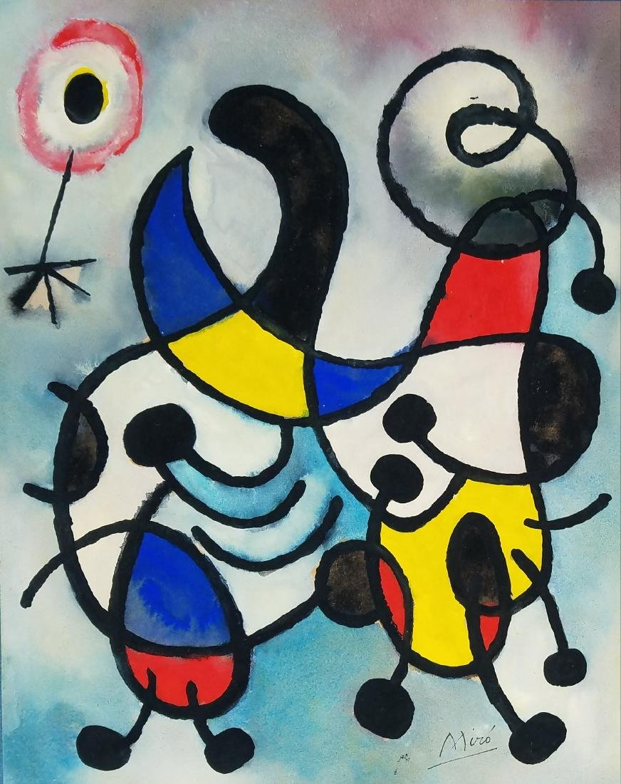 Miro watercolor and ink on paper