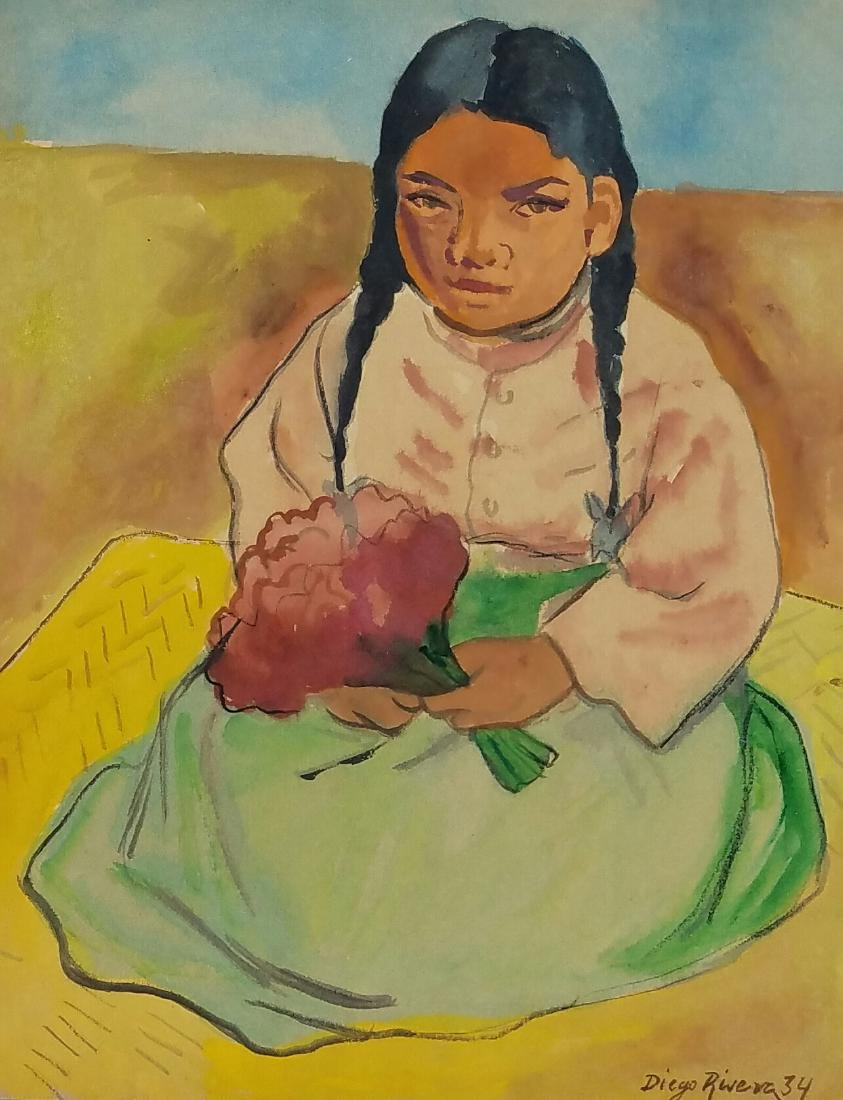 signed Diego Rivera watercolor on paper