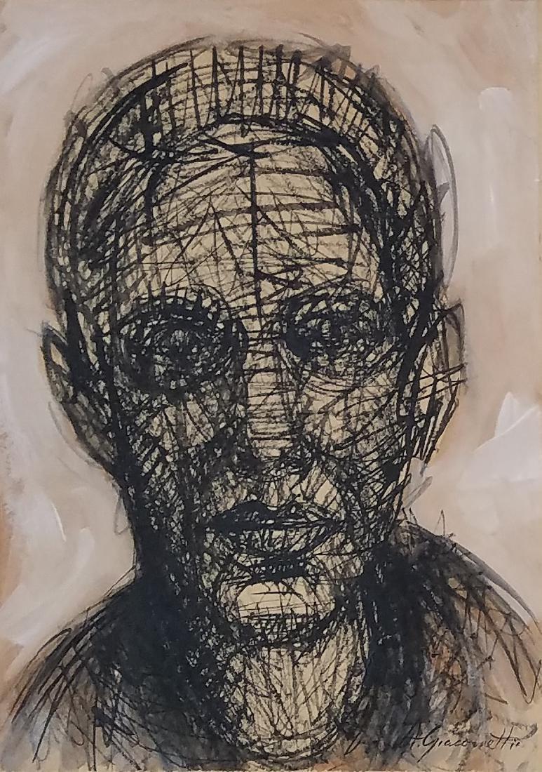 signed Alberto Giacometti mixed media on paper