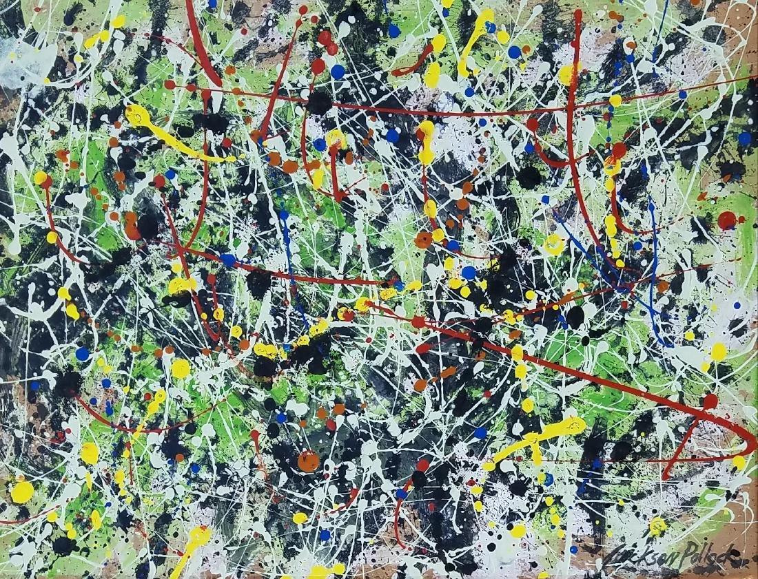 signed Jackson Pollock mixed media on paper
