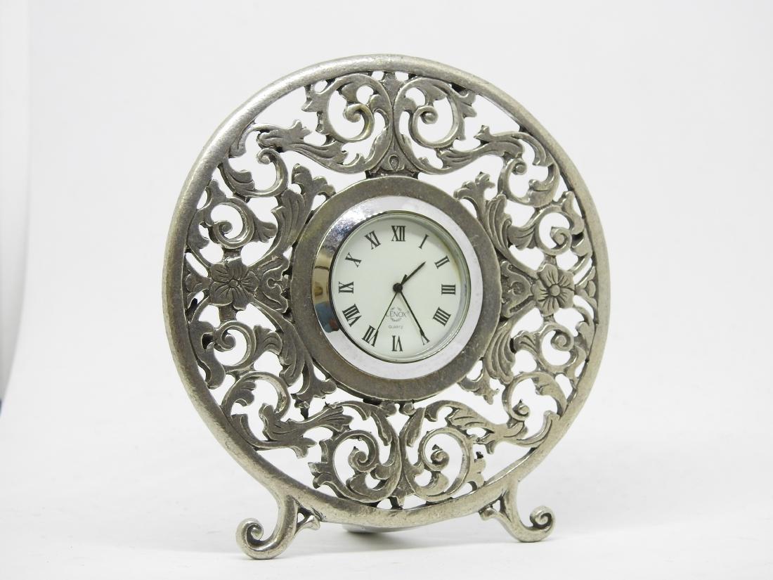 vintage Lenox pewter desl clock