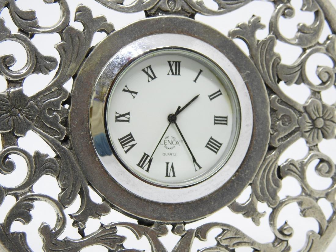 vintage Lenox pewter desl clock - 2