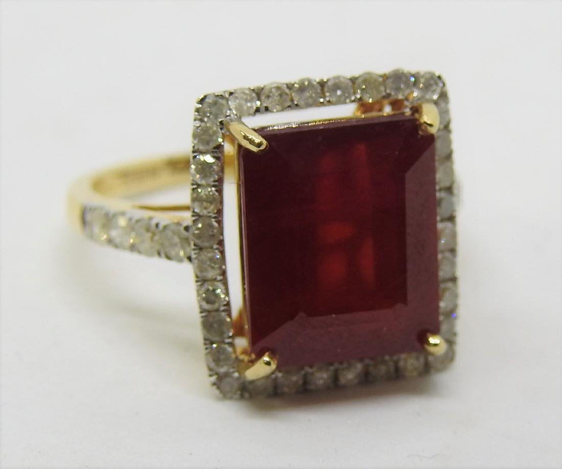 vintage gold ruby diamond ring - 2
