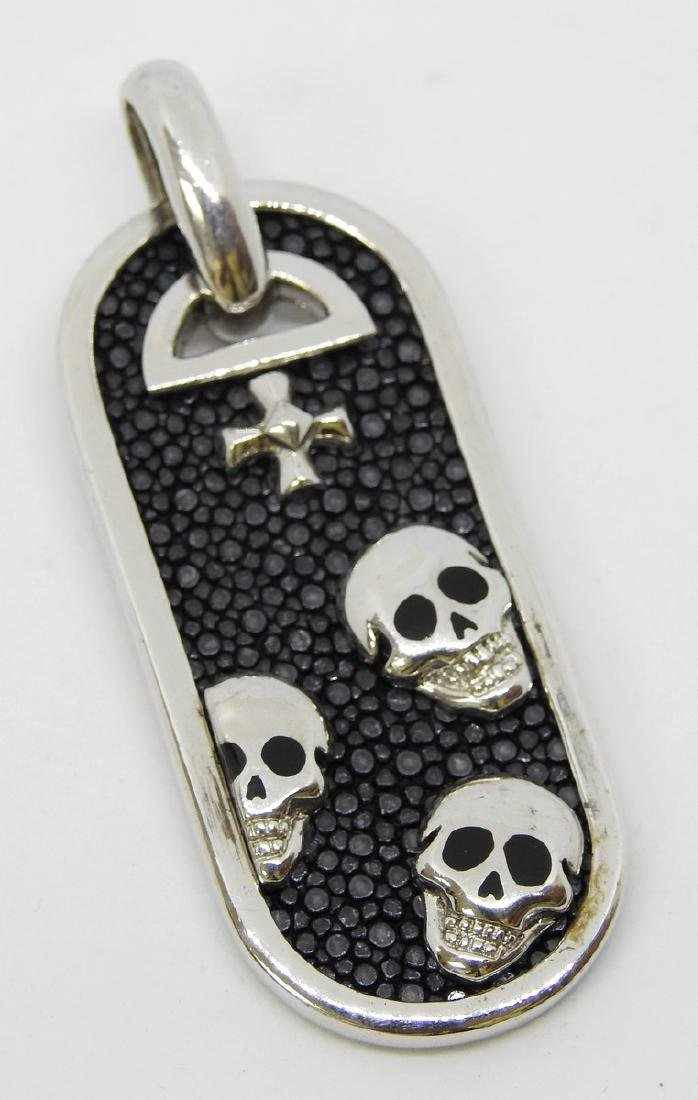sterling silver skulls dog tag