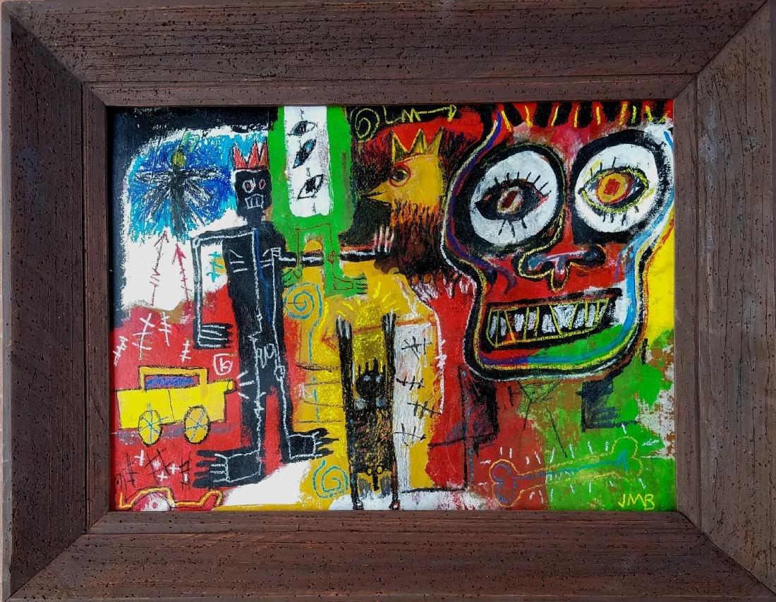 signed Jean Michel Basquiat mixed media