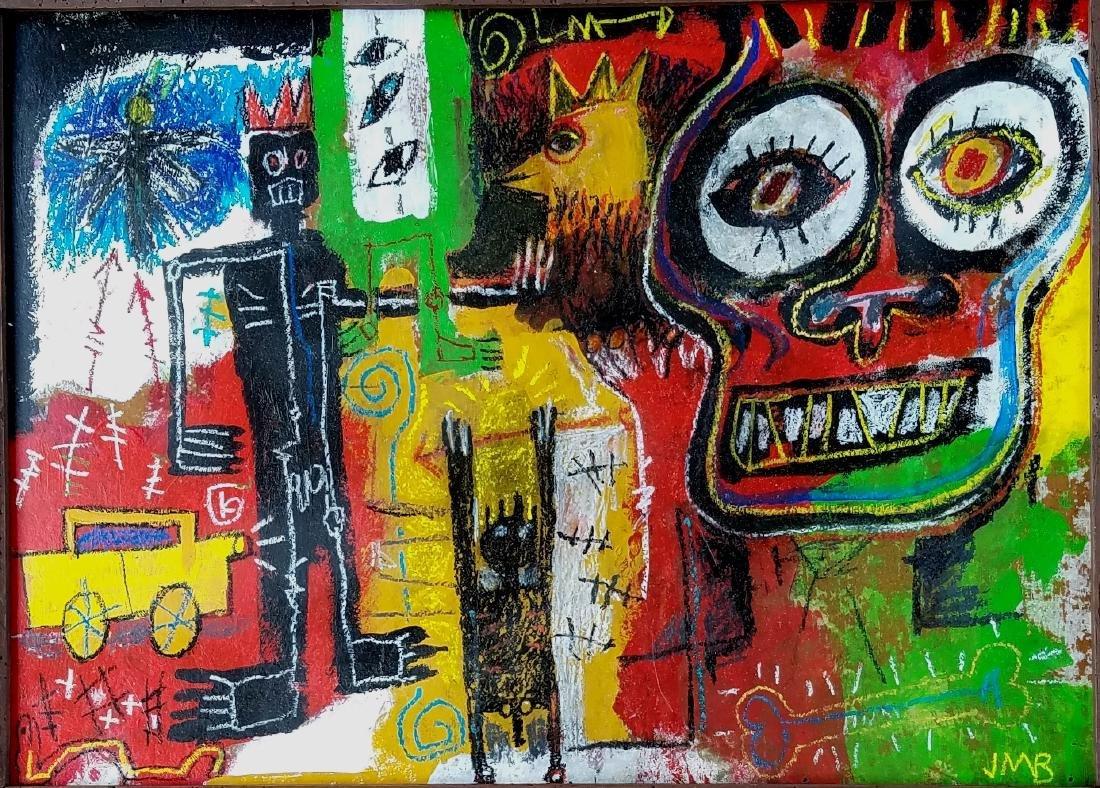signed Jean Michel Basquiat mixed media - 2