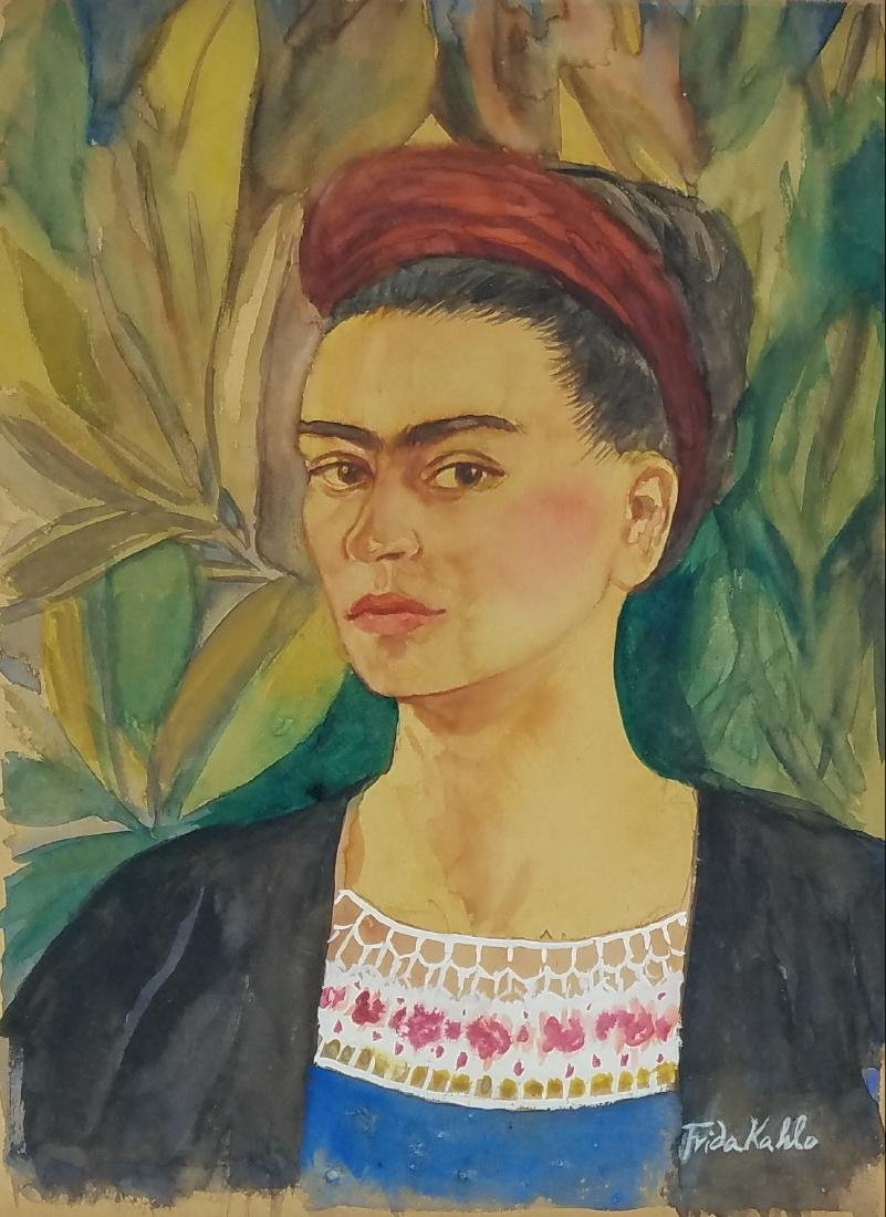 signed Frida Kahlo watercolor on paper
